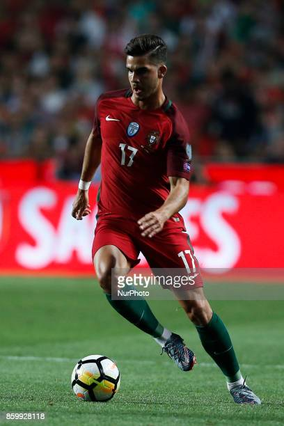Portugal's forward Andre Silva in action during the FIFA World Cup WC 2018 football qualifier match between Portugal and Switzerland in Lisbon on...
