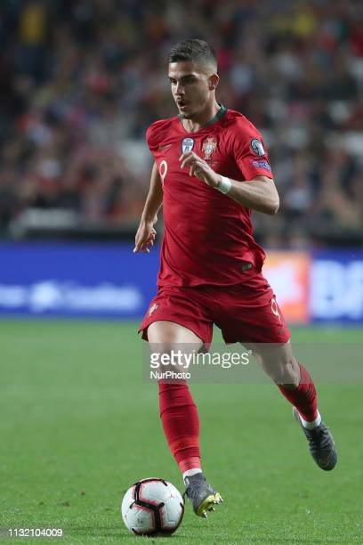 Portugal's forward Andre Silva in action during the UEFA EURO 2020 group B qualifying football match Portugal vs Ukraine at the Luz Stadium in Lisbon...