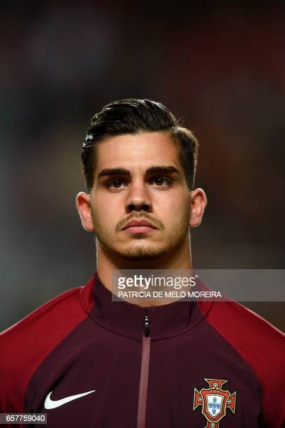 Portugal's forward Andre Silva listen to the national anthem moments before the WC 2018 qualifier football match Portugal vs Hungary at Luz stadium...