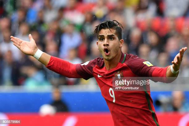 TOPSHOT Portugal's forward Andre Silva reacts after being fouled in the penalty area during the 2017 FIFA Confederations Cup third place football...