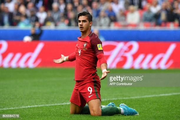 Portugal's forward Andre Silva reacts after being fouled in the penalty area during the 2017 FIFA Confederations Cup third place football match...