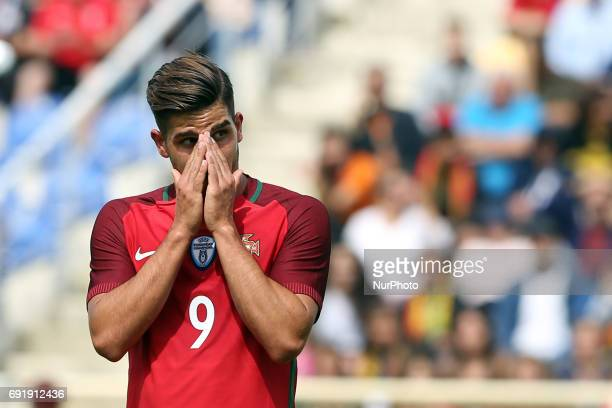 Portugal's forward Andre Silva reacts during the friendly football match Portugal vs Cyprus at Antonio Coimbra da Mota Stadium in Estoril outskirts...