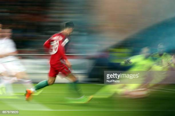 Portugal's forward Andre Silva shoots to score during the FIFA World Cup Russia 2018 qualifier match Portugal vs Hungary at the Luz stadium in Lisbon...