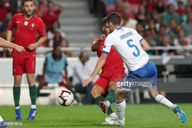 Portugal's forward Andre Silva shoots to score during the UEFA Nations League A group 3 football match Portugal vs Italy at the Luz stadium in Lisbon...