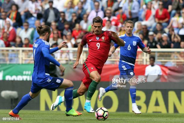 Portugal's forward Andre Silva vies with Cypruss midfielder Nektarios Alexandrou during the friendly football match Portugal vs Cyprus at Antonio...
