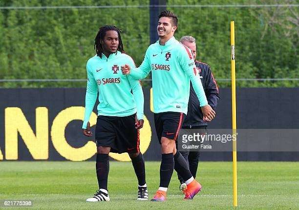 Portugal's forward Andre Silva with Portugal's midfielder Renato Sanches during Portugal's National Team Training session before the 2018 FIFA World...