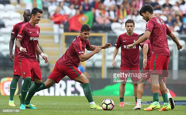 Portugal's forward Andre Silva with teammates during warm up before the start of the International Friendly match between Portugal and Gibraltar at...
