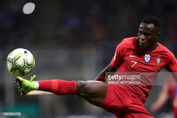 Portugal's forward Bruma controls the ball during the UEFA Nations League group 3 football match Italy vs Portugal at the San Siro Stadium in Milan...
