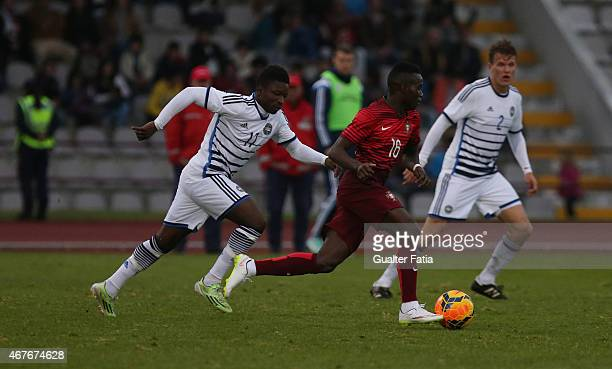 Portugal's forward Bruma with Denmark's forward Danny Amankwaa during the U21 International Friendly between Portugal and Denmark on March 26 2015 in...
