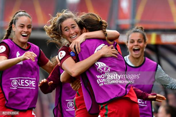 Portugal's forward Carolina Mendes celebrates with teammates after scoring a goal during the UEFA Women's Euro 2017 football tournament between...