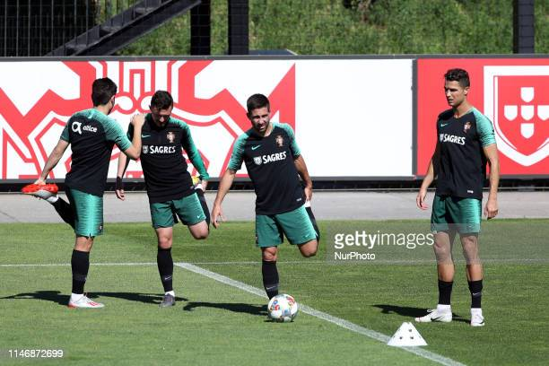 Portugal's forward Cristiano Ronaldo and his teammates attend a training session at Cidade do Futebol training camp in Oeiras Portugal on May 29 in...