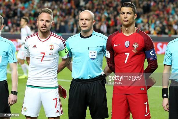 Portugals forward Cristiano Ronaldo and Hungarys forward Balazs Dzsudzsak during Portugal v Hungary FIFA 2018 World Cup Qualifier at Estadio da Luz...
