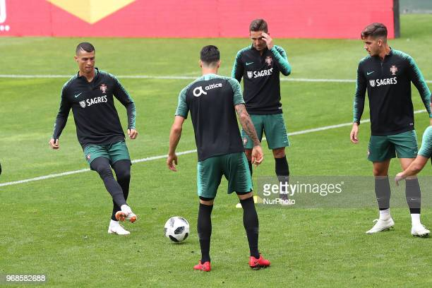 Portugal's forward Cristiano Ronaldo and teammates attend a training session at the Luz stadium in Lisbon Portugal on June 6 on the eve of the FIFA...