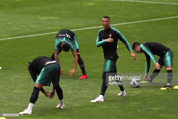 Portugal's forward Cristiano Ronaldo and teammates during a training session at the Luz stadium in Lisbon Portugal on June 6 on the eve of the FIFA...