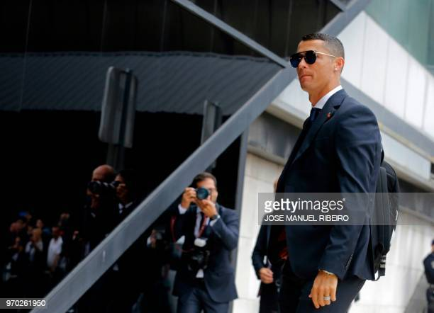 Portugal's forward Cristiano Ronaldo arrives at Humberto Delgado´s airport in Lisbon on June 9 2018 to travel for the Russia 2018 World Cup