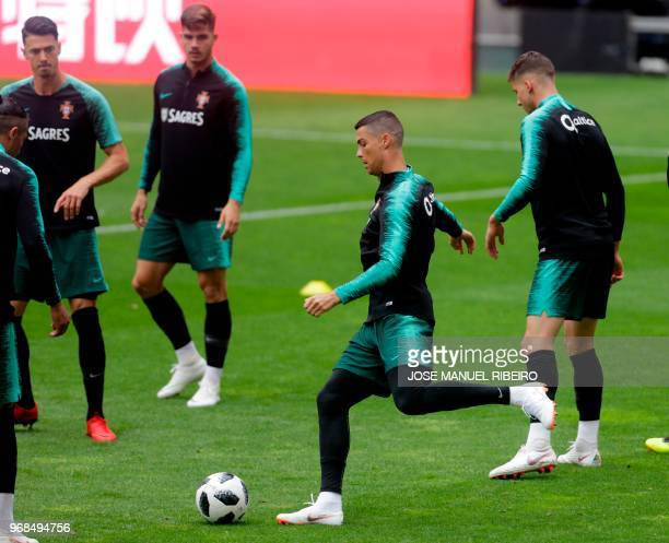 Portugal's forward Cristiano Ronaldo attends a training session at Luz stadium in Lisbon during the Portugal national football team's training camp...