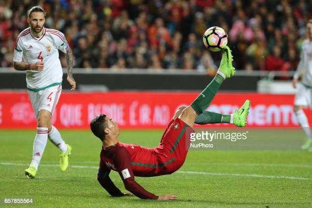 Portugals forward Cristiano Ronaldo bicycle kick during Portugal v Hungary FIFA 2018 World Cup Qualifier at Estadio da Luz on March 25 2017 in Lisbon...