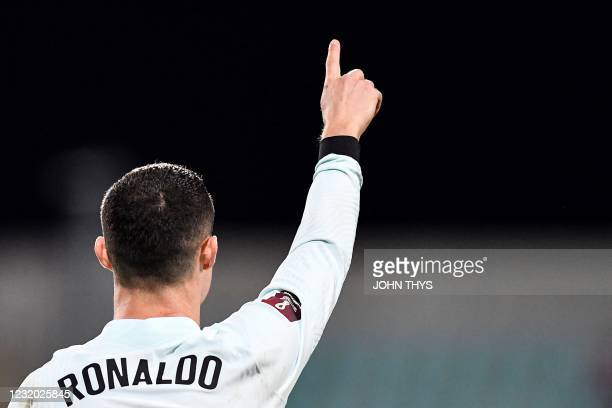 Portugal's forward Cristiano Ronaldo celebrates after scoring a goal during the FIFA World Cup Qatar 2022 qualification Group A football match...