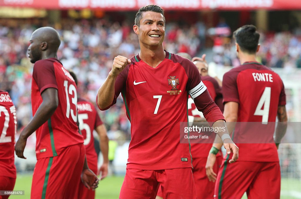 Portugal's forward Cristiano Ronaldo celebrates after scoring a goal during the International Friendly match between Portugal and Estonia at Estadio da Luz on June 8, 2016 in Lisbon, Portugal.