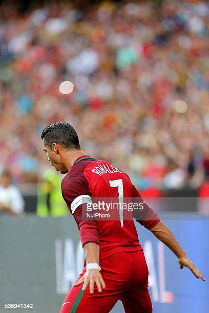 Portugals forward Cristiano Ronaldo celebrates after scoring a goal during international friendly match between Portugal and Estonia in preparation...