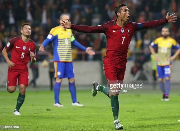 PortugalÕs forward Cristiano Ronaldo celebrates after scoring a goal during the FIFA 2018 World Cup Qualifier match between Portugal and Andorra at...