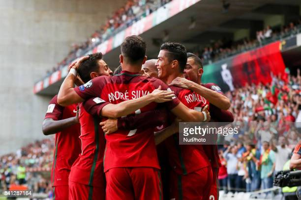 Portugal's forward Cristiano Ronaldo celebrates after scoring a goal during the FIFA World Cup Russia 2018 qualifier match between Portugal and Faroe...