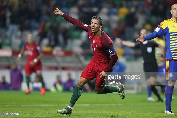 Portugal's forward Cristiano Ronaldo celebrates after scoring goal during the 2018 FIFA World Cup Qualifiers matches between Portugal and Andorra in...