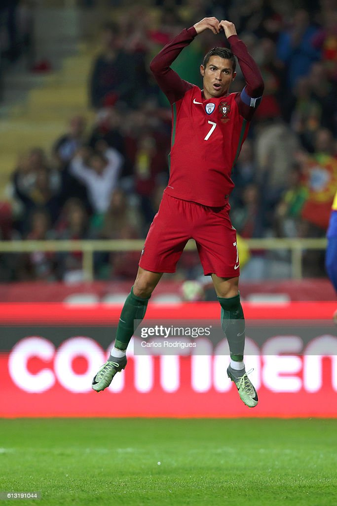 Portugal's forward Cristiano Ronaldo celebrates scoring Portugal's fifth goal during Portugal v Andorra - FIFA 2018 World Cup Qualifier at Estadio Municipal de Aveiro on October 07, 2016 in Aveiro, Portugal.