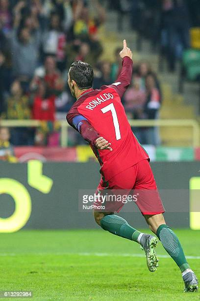 Portugals forward Cristiano Ronaldo celebrating after scoring a goal during the 2018 FIFA World Cup Qualifiers matches between Portugal and Andorra...