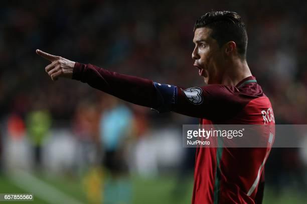 Portugals forward Cristiano Ronaldo celebrating after scoring a goal during Portugal v Hungary FIFA 2018 World Cup Qualifier at Estadio da Luz on...