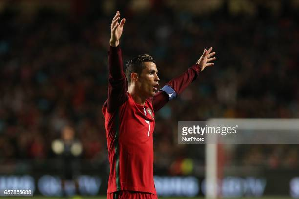Portugals forward Cristiano Ronaldo celebrating the third goal of the match during Portugal v Hungary FIFA 2018 World Cup Qualifier at Estadio da Luz...