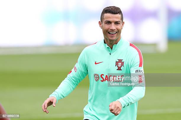 Portugal's forward Cristiano Ronaldo during Portugal Training Session and Press Conference the at Cidade do Futebol on November 09 2016 in Lisbon...