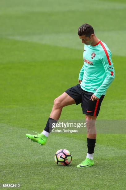 Portugal's forward Cristiano Ronaldo during Portugal Training Session and Press Conference the at Cidade do Futebol on March 23 2017 in Lisbon...