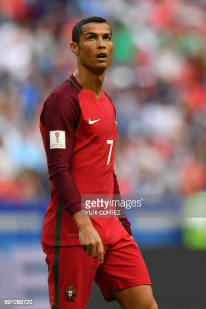 Portugal's forward Cristiano Ronaldo during the 2017 Confederations Cup group A football match between Portugal and Mexico at the Kazan Arena in...