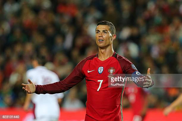 Portugals forward Cristiano Ronaldo during the 2018 FIFA World Cup Qualifiers matches between Portugal and Latvia in Municipal Algarve Stadium on...