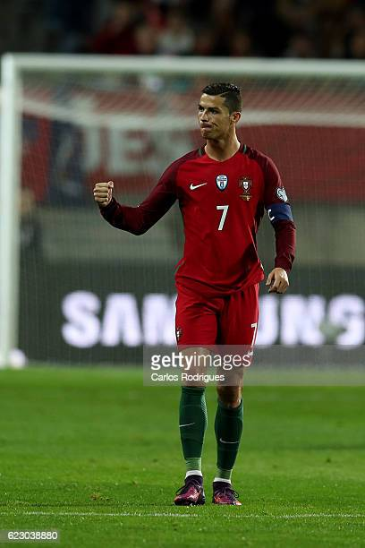 Portugal's forward Cristiano Ronaldo from Portugal celebrates scoring Portugal's first goal during the Portugal v Latvia FIFA 2018 World Cup...
