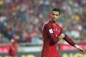 portugals forward cristiano ronaldo gestures during