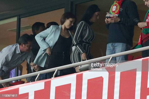 Portugal's forward Cristiano Ronaldo girlfriend Georgina Rodriguez attends the UEFA EURO 2020 group B qualifying football match Portugal vs Serbia at...