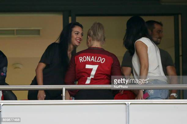 Portugal's forward Cristiano Ronaldo girlfriend Georgina Rodriguez during the 2018 FIFA World Cup qualifying football match between Portugal and...
