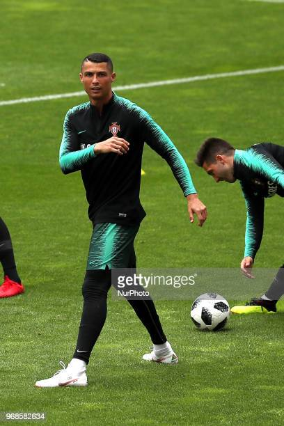 Portugal's forward Cristiano Ronaldo in action during a training session at the Luz stadium in Lisbon Portugal on June 6 on the eve of the FIFA World...