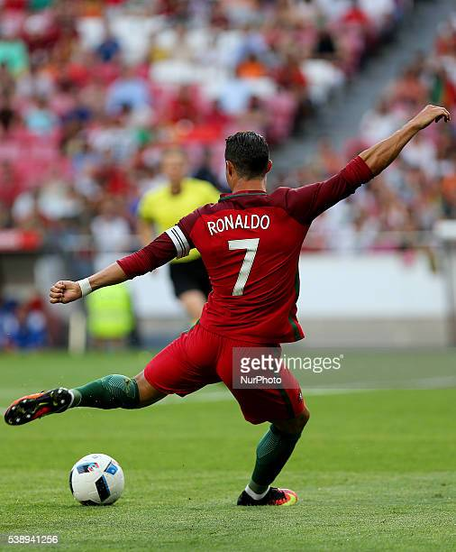 Portugals forward Cristiano Ronaldo in action during international friendly match between Portugal and Estonia in preparation for the Euro 2016 at...
