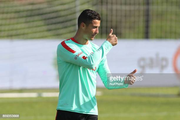 Portugals forward Cristiano Ronaldo in action during National Team Training session before the match between Portugal and Switzerland at City...