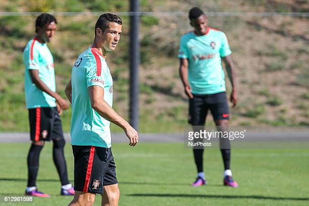 Portugal's forward Cristiano Ronaldo in action during Portugal's National Team Training session before the 2018 FIFA World Cup Qualifiers matches...
