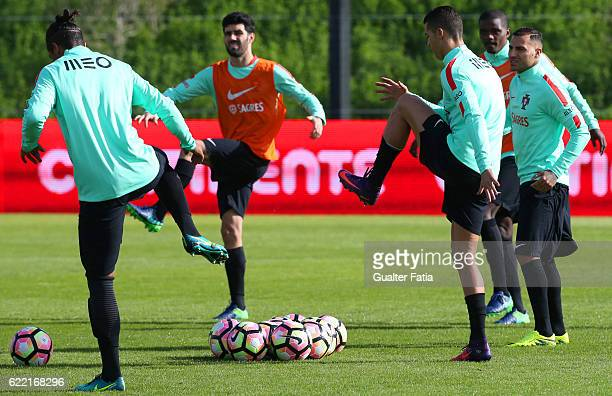 Portugal's forward Cristiano Ronaldo in action during Portugal's National Team Training session before the 2018 FIFA World Cup Qualifiers match...