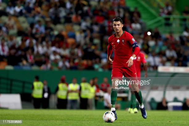 Portugal's forward Cristiano Ronaldo in action during the Euro 2020 qualifier football match between Portugal and Luxembourg at the Jose Alvalade...
