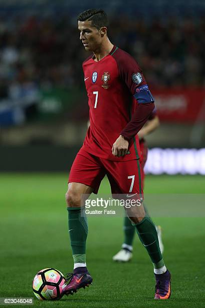 Portugal's forward Cristiano Ronaldo in action during the FIFA 2018 World Cup Qualifier match between Portugal and Latvia at Estadio Algarve on...