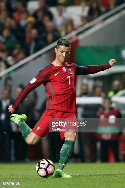 Portugal's forward Cristiano Ronaldo in action during the FIFA World Cup Russia 2018 qualifier match Portugal vs Hungary at the Luz stadium in Lisbon...