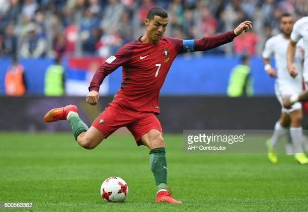 Portugal's forward Cristiano Ronaldo kicks the ball during the 2017 Confederations Cup group A football match between New Zealand and Portugal at the...
