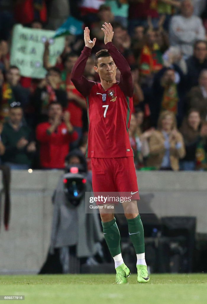 Portugal's forward Cristiano Ronaldo leaves the pitch during the International Friendly match between Portugal and Sweden at Estadio dos Barreiros on March 28, 2017 in Funchal (Madeira), Portugal.