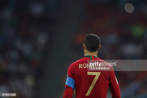 Portugal's forward Cristiano Ronaldo looks on during the Russia 2018 World Cup Group B football match between Portugal and Spain at the Fisht Stadium...
